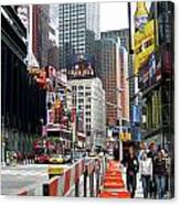 Amidst Color And Construction In Times Square Canvas Print