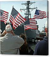 Family Members Wave Flags To Show Canvas Print