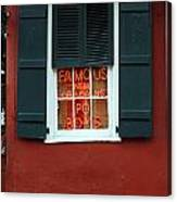 Famous New Orleans Po Boys Red Neon Window Sign  Canvas Print