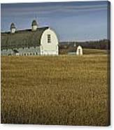 Farm Scene With White Barn Canvas Print