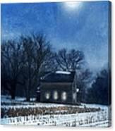 Farmhouse Under Full Moon In Winter Canvas Print