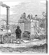 Farming: Threshing, 1851 Canvas Print