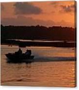Fast Boat Sunrise Canvas Print