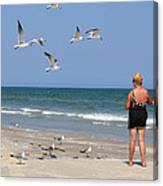 Feeding The Sea Gulls Canvas Print