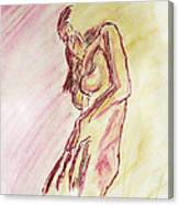 Female Nude Figure Sketch In Watercolor Purple Magenta And Yellow With A Warm Sunlit Background Canvas Print