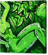 Female On A Mardi Gras Float Painted Canvas Print