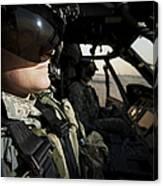 Female Pilot Commander In The Cockpit Canvas Print