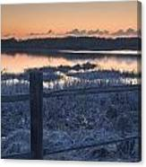 Fence By Lake At Sunset Canvas Print