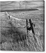 Fence Corner And Wind Turbines On A Farm In Alberta Canvas Print