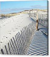 Fences Shadows And Sand Dunes Canvas Print