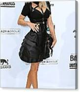 Fergie Wearing A Herve Leger By Max Canvas Print