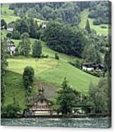 Few Houses On The Slope Of Mountain Next To Lake Lucerne Canvas Print
