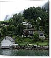 Few Houses On The Slope Of Mountain Next To Lake Lucerne In Switzerland Canvas Print