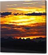 Fiery Sunrise Over The Cascade Mountains Canvas Print