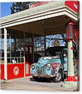 Filling Up The Old Ford Jalopy At The Associated Gasoline Station . Nostalgia . 7d12880 Canvas Print