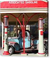 Filling Up The Old Ford Jalopy At The Associated Gasoline Station . Nostalgia . 7d12883 Canvas Print