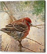 Finch Greeting Card With Verse Canvas Print