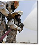 Firemen Learn How To Effectively Work Canvas Print