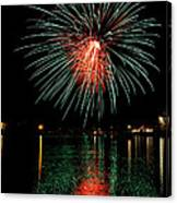 Fireworks Of Green And Red Canvas Print