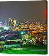 Fireworks Over The City Skyline Canvas Print