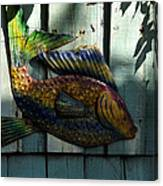 Fish On Fence Canvas Print