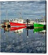 Fishing Boat Reflections At Macmillan Pier In Provincetown Cape  Canvas Print