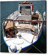 Fishing Boat With Octopus Drying Canvas Print