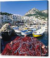 Fishing Boats And Nets In The Marina Canvas Print