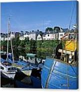 Fishing Boats At A Harbor, Roundstone Canvas Print