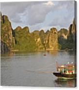 Fishing Boats At Sunset, Halong Bay Canvas Print