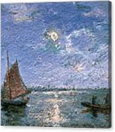 Fishing Boats By Moonlight Canvas Print