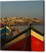 Fishing Boats In Front Of Kasbah Des Canvas Print