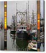 Fishing Boats In Steveston Group Photo Canvas Print