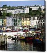 Fishing Boats Moored At A Harbor, Cobh Canvas Print