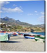 Fishing Boats On A Beach In Spain Canvas Print
