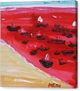 Fishing Boats On A Red Sea Canvas Print