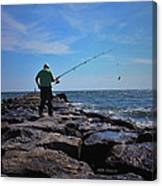 Fishing Off Of The Jetty Canvas Print