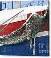 Fishing Vessel In Winter's Rest Canvas Print