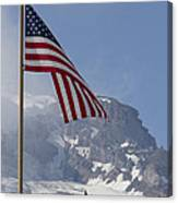 Flag And The Mountain Canvas Print