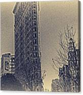 Flat Iron In Sepia Canvas Print