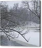 Flat River In Winter No.026 Canvas Print