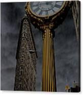 Flatiron Building And Clock Canvas Print