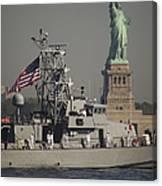 Fleet Week Vessels Pass By The Statue Canvas Print