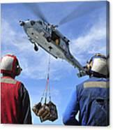 Flight Deck Personnel Wait For Supplies Canvas Print