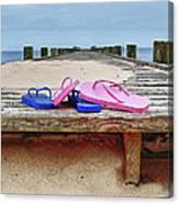 Flip Flops On The Dock Canvas Print