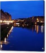 Florence Arno River Night Canvas Print