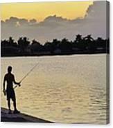 Florida Fishing At Sunset Canvas Print