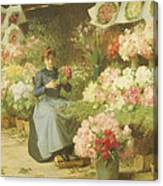 Flower Seller In Front Of The Madeleine Church Canvas Print