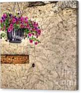 Flowers And A Signboard Canvas Print