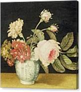 Flowers In A Delft Jar  Canvas Print